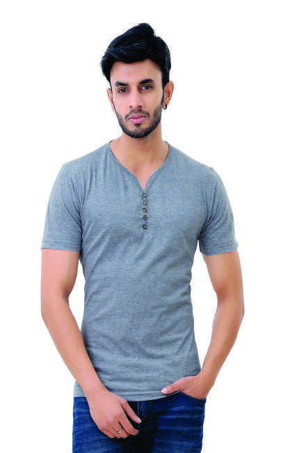 Grand Stitch Solid Men's V-neck Grey T-Shirt