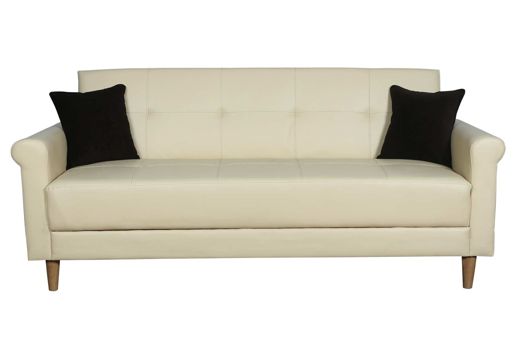 BREEZA 3 SEATER SOFA CUM BED IN LEATHERITE COLOR IVORY