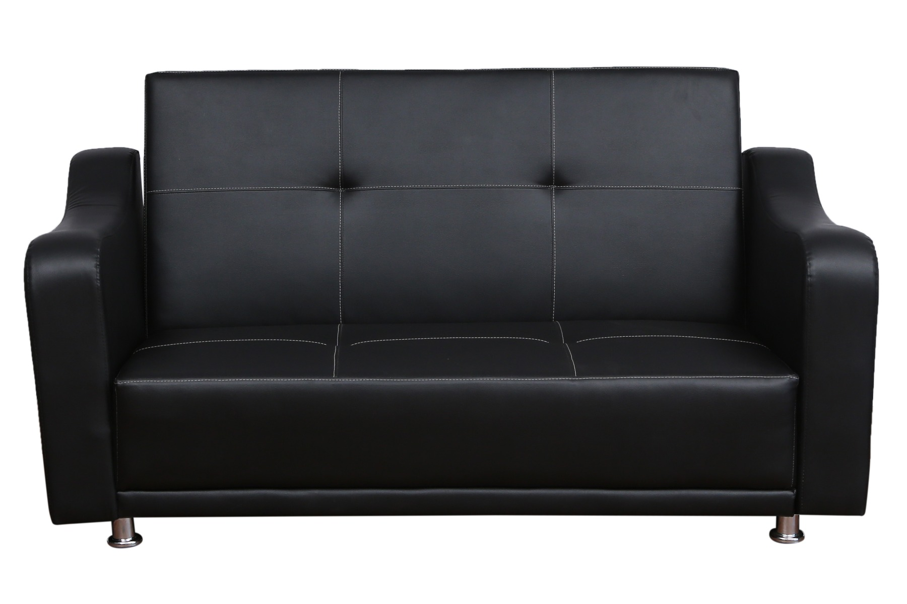 DATSUN 2 SEATER SOFA CUM BED IN LEATHERITE COLOR BLACK