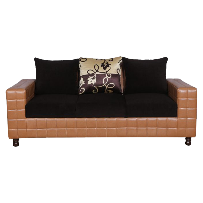 JEFFERSON 3 SEATER SOFA IN LEATHERITE & FABRIC ENG BROWN & COFFEE
