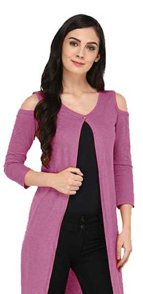 Grand Stitch Solid Women's Shrug (Purple)